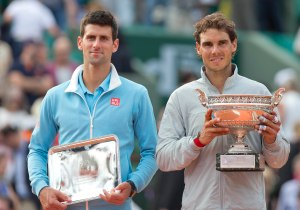 Jun 8, 2014; Paris, France; Rafael Nadal (ESP) at the trophy ceremony after recording match point in his match against Novak Djokovic (SRB) on day 15 at the 2014 French Open at Roland Garros. Mandatory Credit: Susan Mullane-USA TODAY Sports ORG XMIT: USATSI-177854 ORIG FILE ID:  20140608_ads_au2_083.JPG